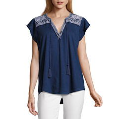 Liz Claiborne Short Sleeve Split Crew Neck T-Shirt-Womens