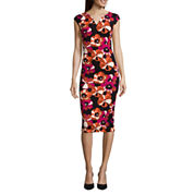 Weslee Rose Cap-Sleeve Printed Bodycon Dress
