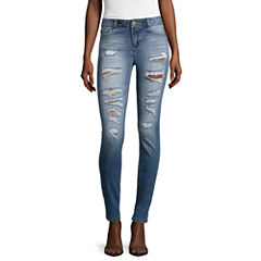 Blue Spice High Rise Roll Cuff Destructed Skinny Jeans