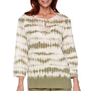 Alfred Dunner® Cyprus 3/4-Sleeve Tie Dye Tunic Top