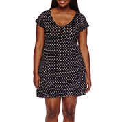 Decree® Short-Sleeve V-Neck Swing Skater Dress - Juniors Plus
