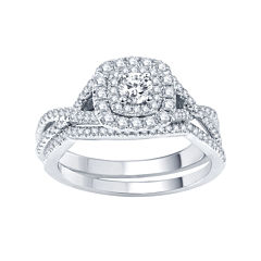 Modern Bride® Signature 3/4 CT. T.W. Certified White & Color-Enhanced Blue Diamond RIng Set
