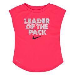 Nike Short Sleeve Crew Neck T-Shirt-Toddler Girls