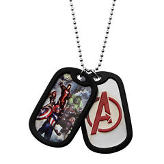 Marvel Avengers Mens Stainless Steel Double Dog Tag Pendant Necklace