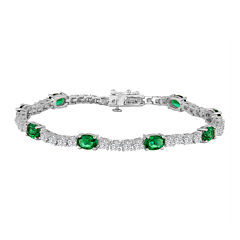 Simulated Emerald and Cubic Zirconia Sterling Silver Over Brass Bracelet