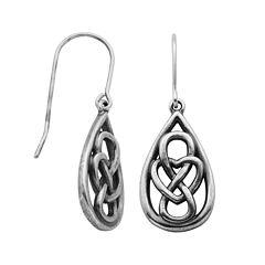 Sterling Silver Celtic Knot Teardrop Earrings