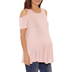 Short Sleeve Scoop Neck T-Shirt-Womens Maternity