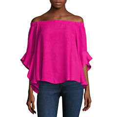 Heart N Soul 3/4 Sleeve Crepe Blouse-Juniors