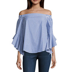 Heart N Soul 3/4 Sleeve Poplin Blouse-Juniors