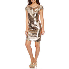 Renn® Short-Sleeve Reversible Sequin Sheath Dress
