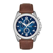 Relic® Daley Mens Brown Leather Strap World-Time Sport Watch ZR15794