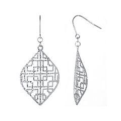 Sterling Silver Filigree Cutout Drop Earrings