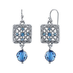 1928® Jewelry Blue Stone Filigree Drop Earrings