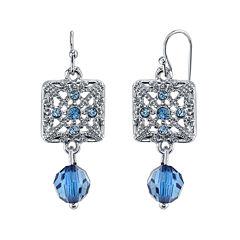1928® Jewelry Blue Stone Filigree Drop Earrings
