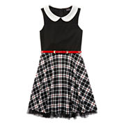 Lilt Sleeveless Black and White Plaid Skater Dress with Peter Pan Collar - Girls 7-16
