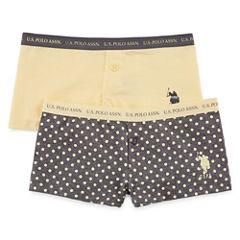 Us Polo Assn. 2 Pair Boyshort Panty-Big Kid Girls