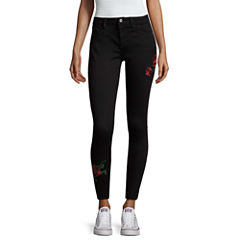 Arizona Embroidered Ankle Jeggings-Juniors