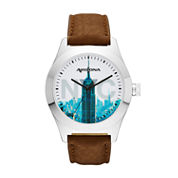 Arizona Mens New York Brown Strap Watch