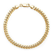 Made in Italy 14K Yellow Gold Solid 8.5 In Grumetta Link Bracelet