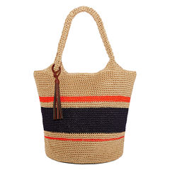 Straw Studios Striped Polystring Hobo Bag