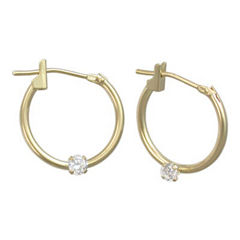 Girls 14K Gold Cubic Zirconia Accent Hoop Earrings