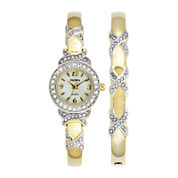 Elgin® Womens Gold-Tone Crystal-Accent Watch and Bangle Set