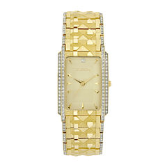 Elgin® Mens Gold-Tone & Crystal-Accent Rectangular Watch