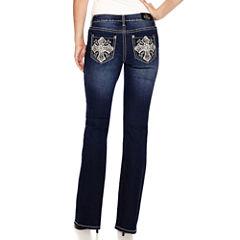 Love Indigo Cross Embellished Back Pocket Bootcut Jean