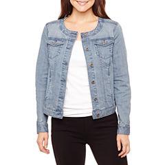 Liz Claiborne Collarless Denim Jacket