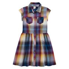 Arizona Short Sleeve Shirt Dress - Big Kid Girls