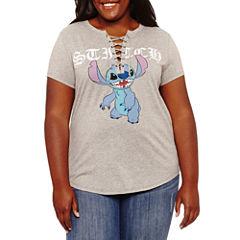 Short Sleeve V Neck Lilo & Stitch Graphic T-Shirt