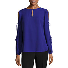 Worthington Long Sleeve Scoop Neck Georgette Blouse