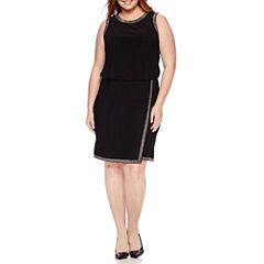 Scarlett Sleeveless Asymmetrical Gold-Trim Fit-and-Flare Dress - Plus
