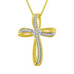 Diamond Blossom Womens 1/10 CT. T.W. White Diamond 10K Gold Over Silver Pendant Necklace
