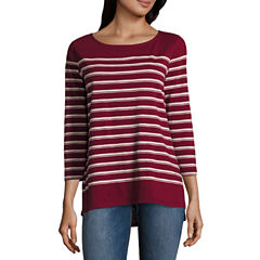 Liz Claiborne 3/4 Sleeve Boat Neck T-Shirt-Womens Petites