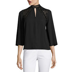 Worthington 3/4 Sleeve Y Neck Georgette Blouse