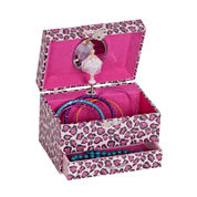 Mele & Co. Josie Girls Glitter Leopard-Pattern Jewelry Box