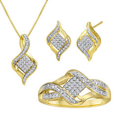 1/10 CT. T.W. Diamond 14K Yellow Gold Over Sterling Silver Jewelry