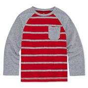 Okie Dokie® Long-Sleeve Raglan Stripe Cotton Tee - Preschool Boys 4-7