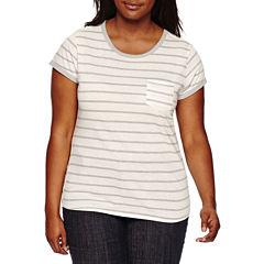 Arizona Short-Sleeve Striped Ringer Tee - Juniors Plus