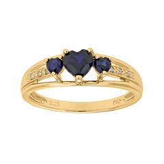 Lab-Created Sapphire and Diamond-Accent 3-Stone Heart Ring