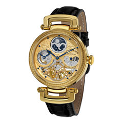 Stührling® Original Mens Gold-Tone Skeleton Leather Strap Automatic Watch