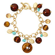 ROX by Alexa Genuine Tiger's Eye and Turquoise Toggle Bracelet