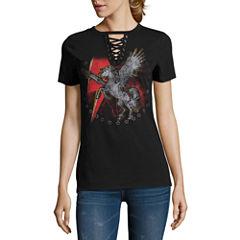 Arizona Lace Up Graphic T-Shirt- Juniors