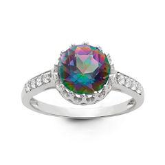 Genuine Mystic Green Topaz Sterling Silver Ring