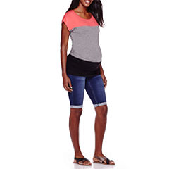 Maternity Short-Sleeve Colorblock Top or Overbelly Bermuda Shorts