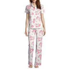 Adonna Short-Sleeve Knit Convertible Collar Shirt & Pants Pajama Set