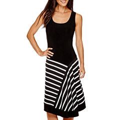MSK Sleeveless Stripe Fit & Flare Dress