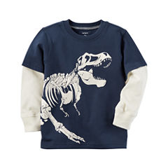 Carter's Long Sleeve Crew Neck T-Shirt-Toddler Boys