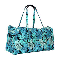 Waverly Blue Green Quilted Duffle Tote Bag